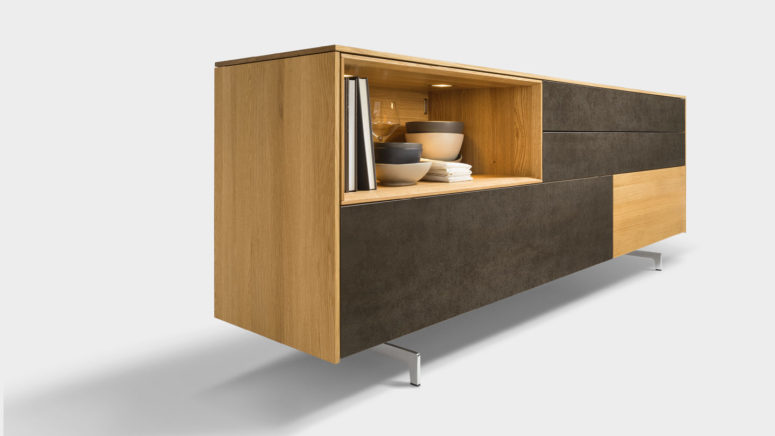 Stylish And Modern Filigno Sideboard Of Wood And Glass