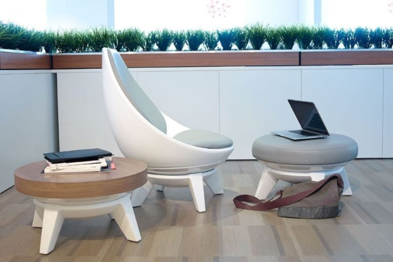 Sway Chair is a super comfortable lounging chair with a matching footrest and a coffee table for contemporary spaces