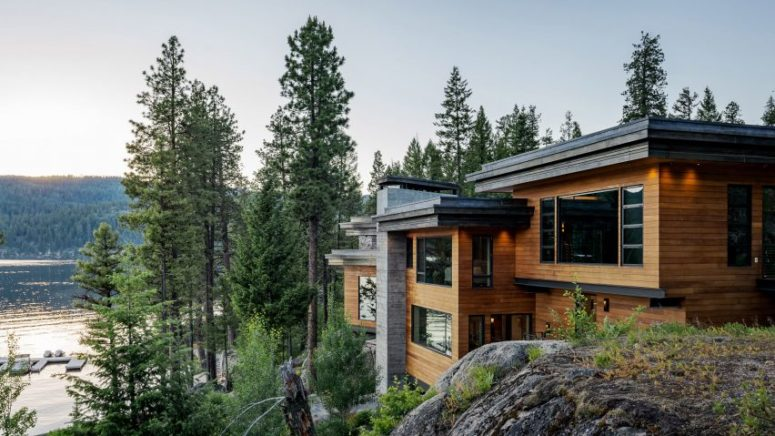 This gorgeous home is called Cliff House and is built into the boulders on the shores of Payette Lake in Idaho