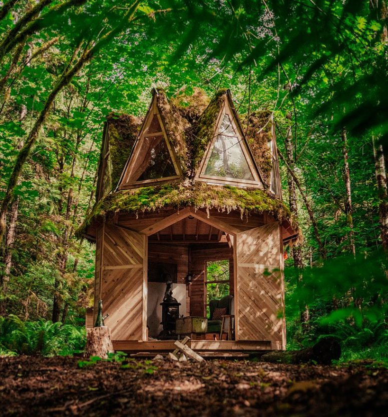 This tiny moss covered cabin looks like out of a fairytale, it's fully built of wood and features many windows