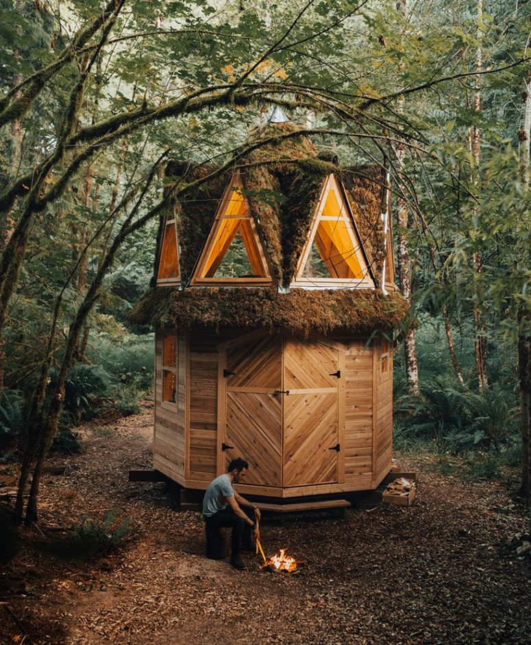 The playful roof shows off giant triangle windows and much moss