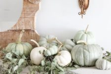 02 a fresh natural mantel with eucalyptus and heirloom pumpkins for a beautiful Thanksgiving mantel