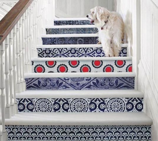 give your stairs a bold look decorating them with bright printed wallpaper - it may be different for each step