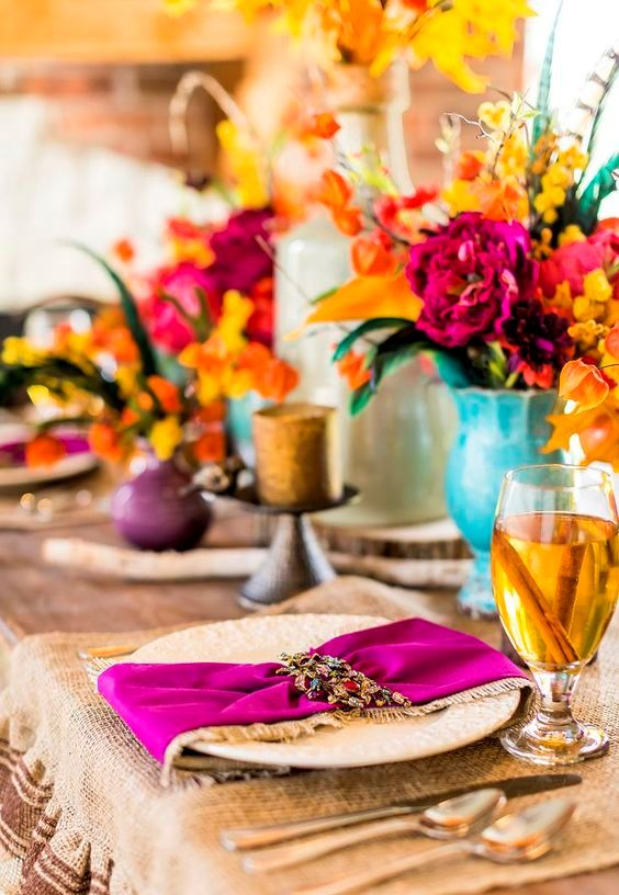 set a tablescape with orange, mustard, hot pink and purple hues to remember this Thanksgiving