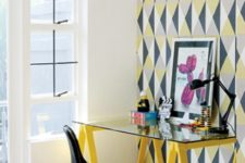 small and colorful home office design