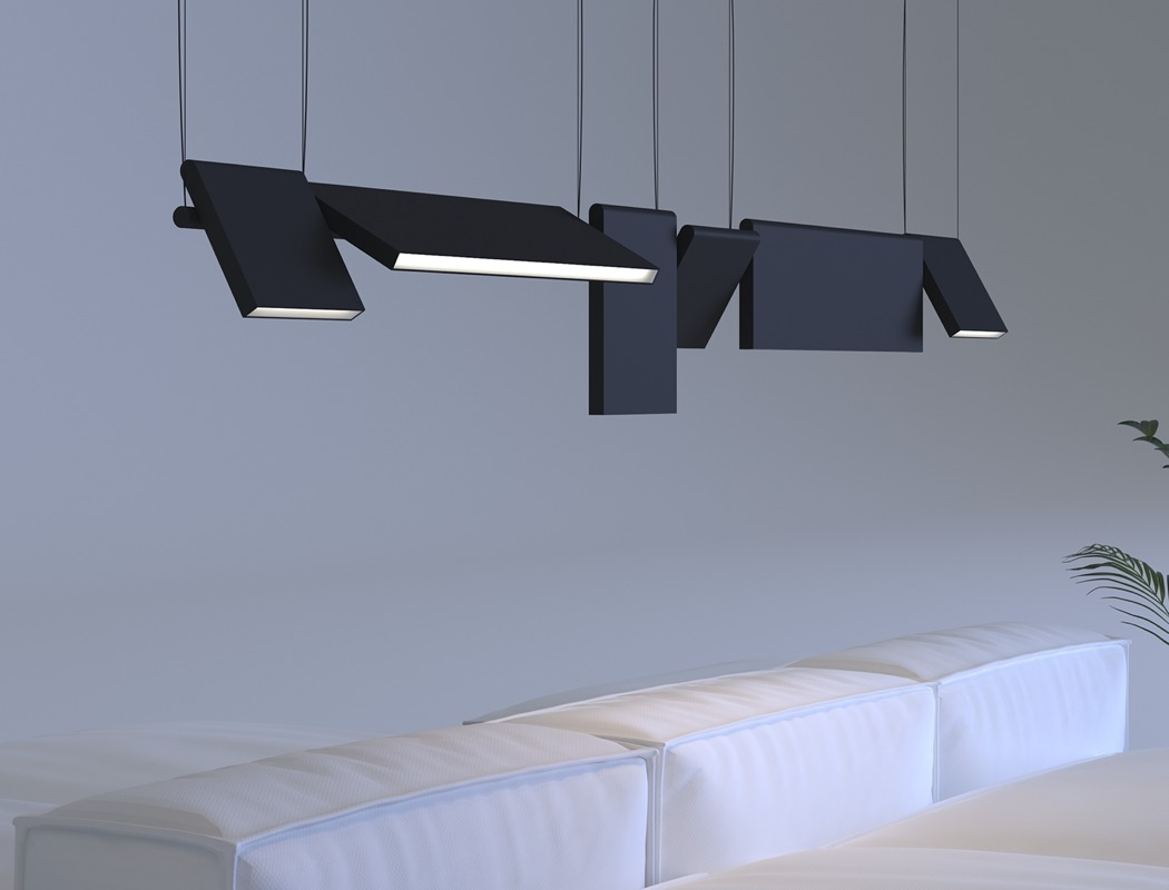 The lighting features a central base, to which the parts are attached