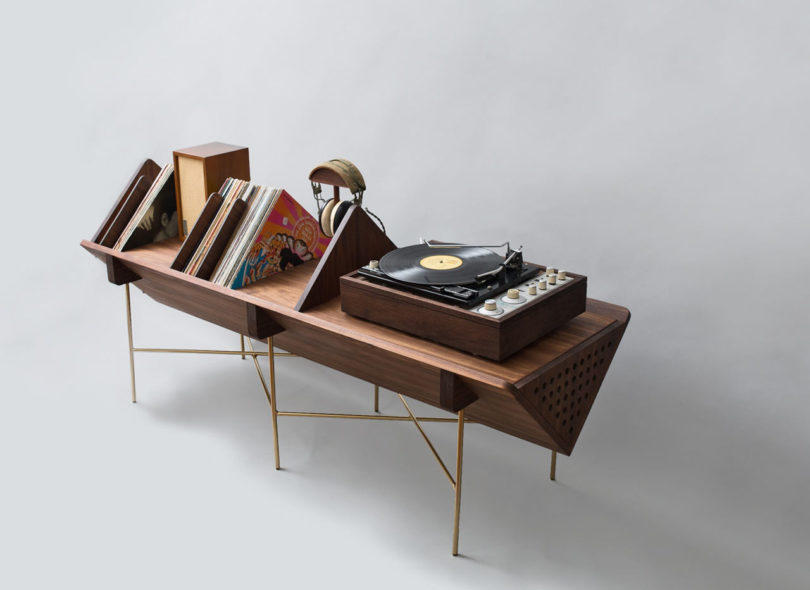 You may store all kinds of items   vinyl, speakers, earphones and everything else you want