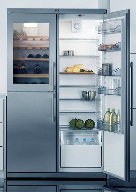 a fridge with glass doors will give additional light to your space illuminating dark corners and nooks