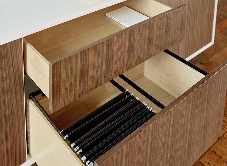 Stylish and simple drawers of the matching credenza will allow storing everything you want inside gettign rid of usual clutter on the desk