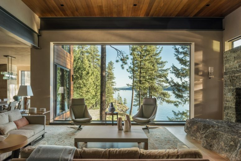 The interiors are a contemporary take on rustic style, and the views are really breathtaking