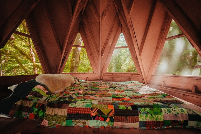The roof space is a tiny bedroom with only a be placed right on the floor