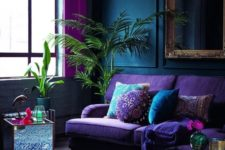 04 a moody space with jewel tones,metallic and mirror touches plus lush greenery for a bold look