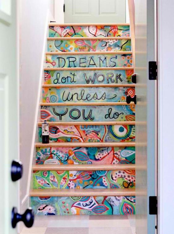 if you are an art loving person, you may paint the stairs in bold colors and with various patterns