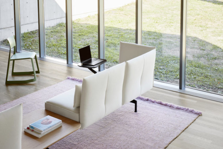 Soft Work can be transformed into diverse seating and working positions including pivoting tables and power sockets