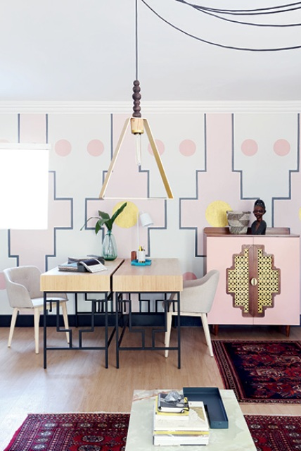 The designer's studio shows off pink shades, gilded touches and geometry with a nod to the African heritage