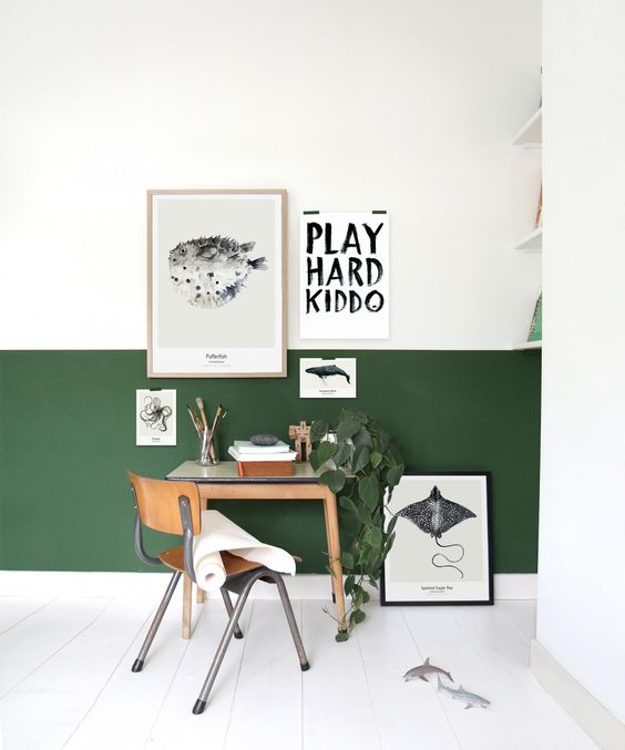 a forest green and white color block wall is right what you need to make your home office bolder