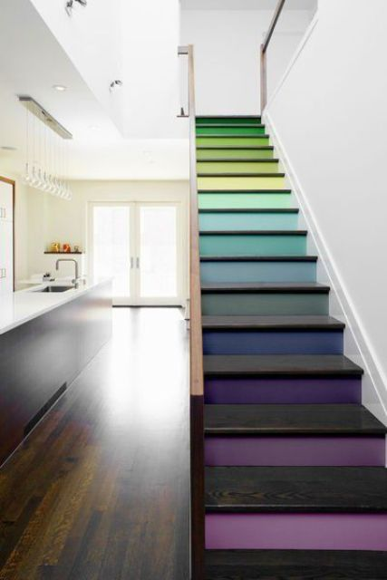 a whole rainbow of colors is what you need for an awesome and modern staircase look