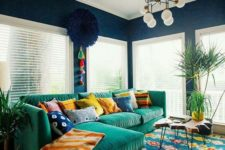 05 navy as a basic color, emerald and yellow touches plus mid-century modern furniture