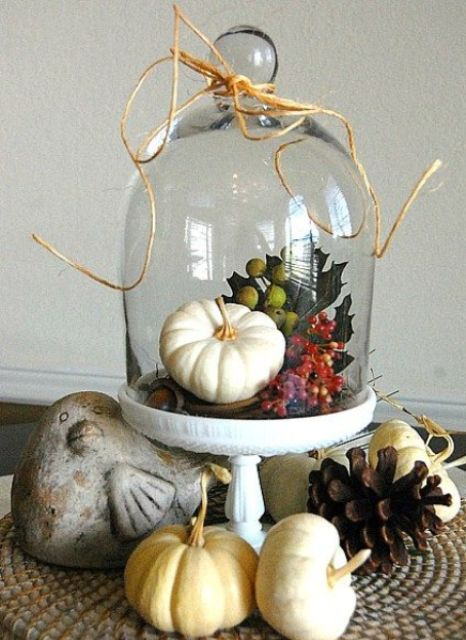 a cloche with a fake pumpkin and berries and fake leaves with twine on the cloche itself, add pinecones and pumpkins around