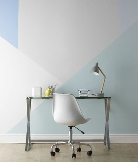 a geometric color block wall in the shades of grey and blue is a non-boring decor idea in any space