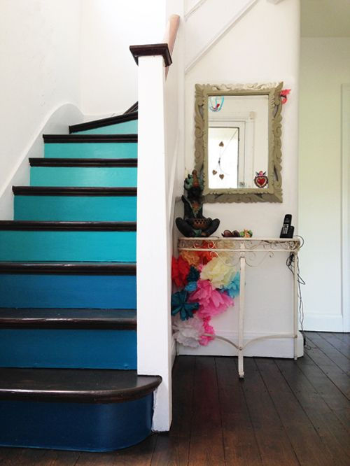 go for an ombre effect on your stairs to make it look edgy and trendy