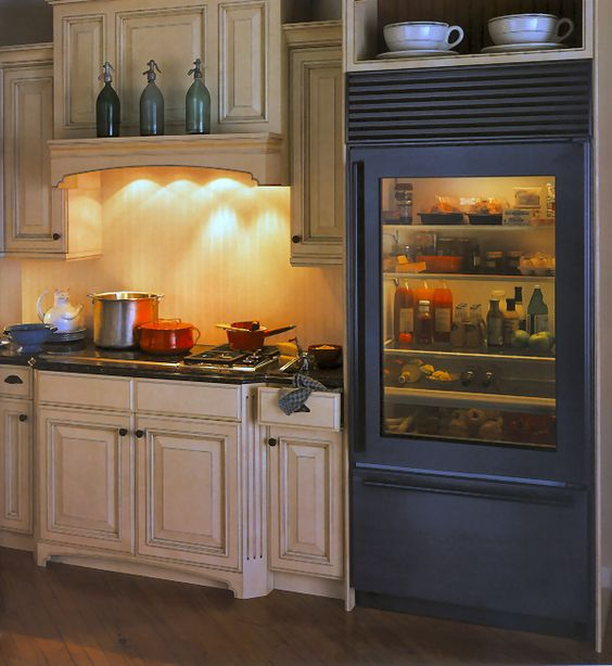 such fridges are available in various colors and with different types and colors of glass to match your space
