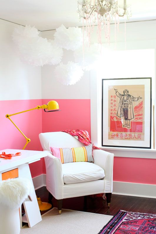 a girlish home office will look bolder and cooler if you go for a color blocked wall