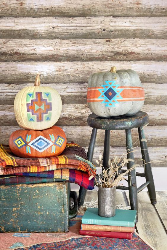 colorful tribal geometric heirloom pumpkins are ideal for boho Halloween decor