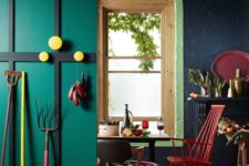 08 a bright space in emerald, black with red and yellow accens and a printed rug