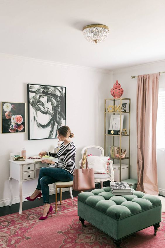 a girl's space spruced up with a vintage Persian rug with traditional prints for a cool and bright look