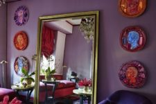 09 a bright boho space in purple, fuchsia, pink and blue and lots of gilded touches
