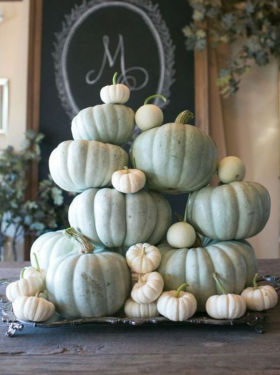 a chic Thanksgiving centerpiece of a silver vintage tray with white and green fresh pumpkins for a harvest statement