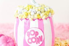 09 a super bright no carve popcorn pumpkin with real painted popcorn to add a whimsy touch to the decor
