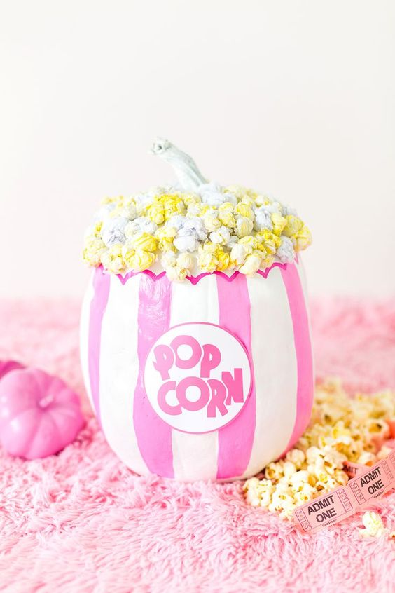 a super bright no carve popcorn pumpkin with real painted popcorn to add a whimsy touch to the decor