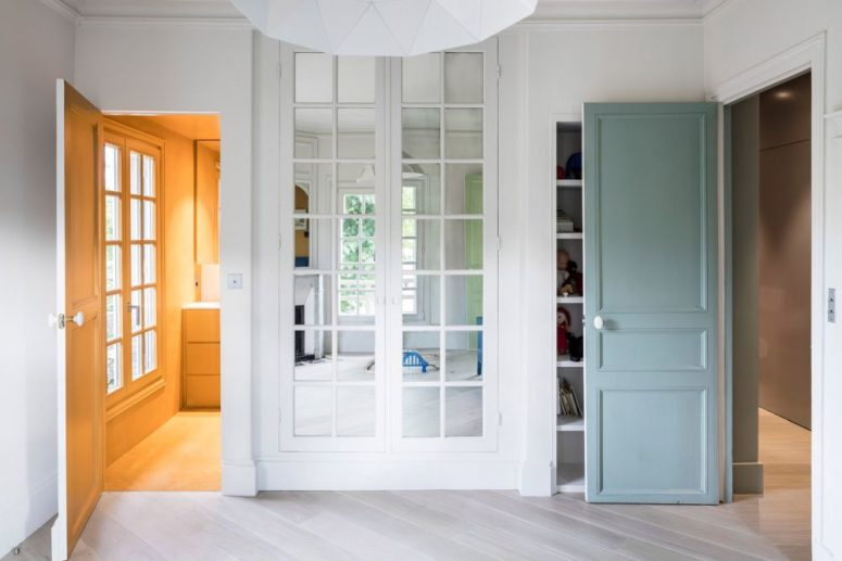 Colorful doors and mudrooms add interest to the space making it more vivacious