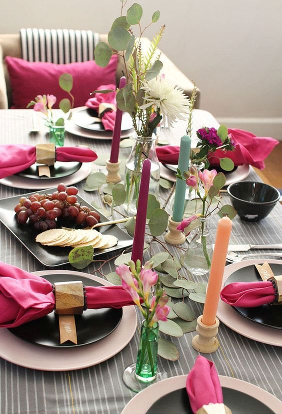 a tablescape with lots of pinks, greens, metallics, and natural textures for a bright and beautiful celebration