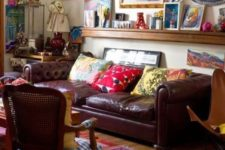 12 a traditional space spruced up with super bold and vibrant artworks and pillows and rugs that create a mood