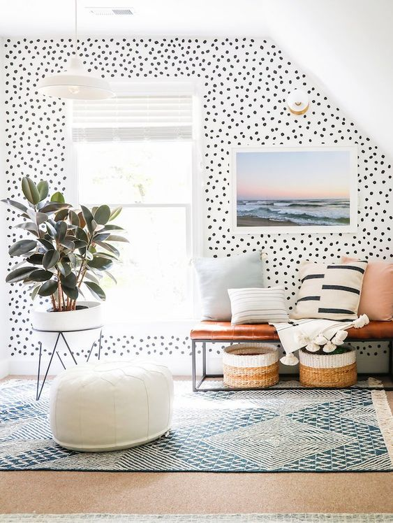 bright polka dot printed wallpaper and more neutral and simple geometric prints and stripes