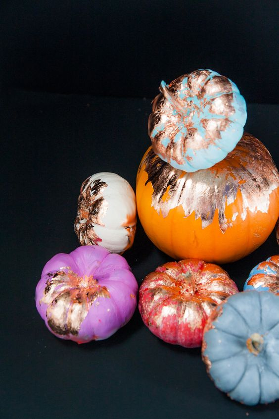give your Halloween decor a big dose of glam with these no-carve copper foil pumpkins