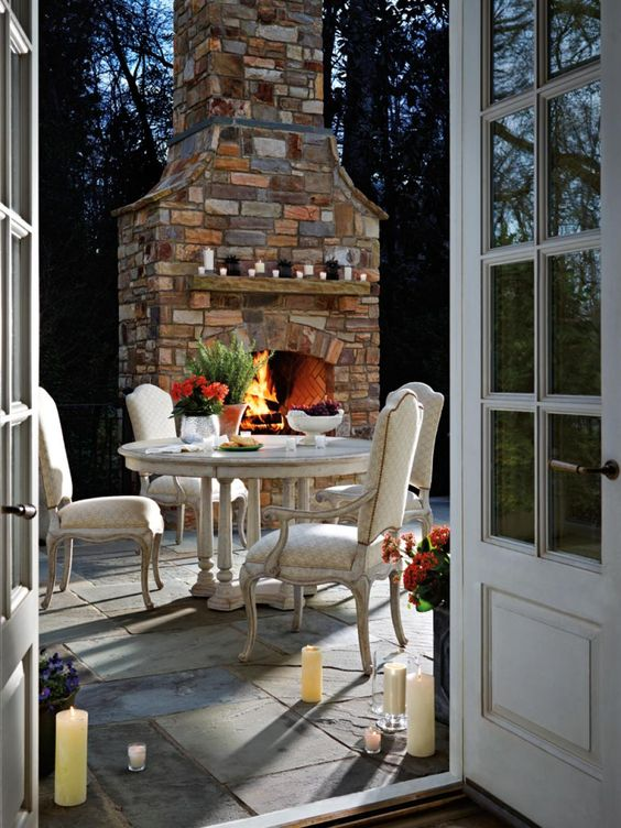 invite your guests to the patio with a hearth or a fireplace to make the ambience cozier