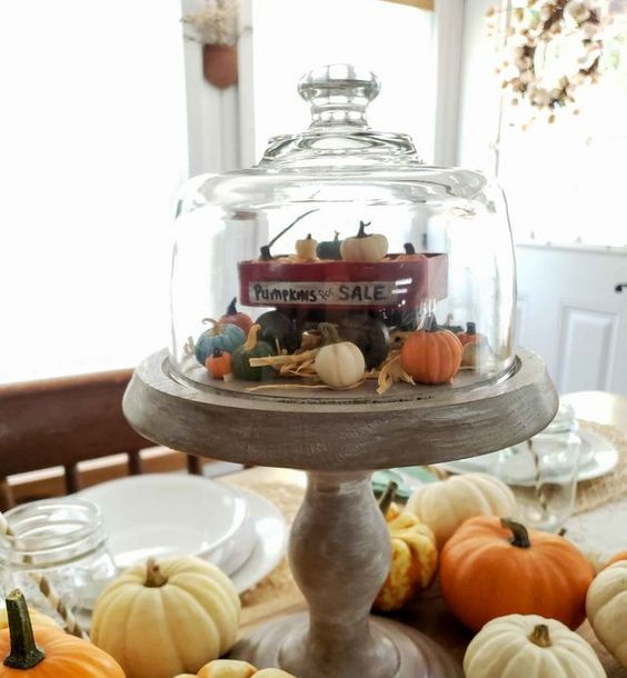 an upcycled cheese dome cloche with a little clay display with pumpkins for a whimsy and fun centerpiece
