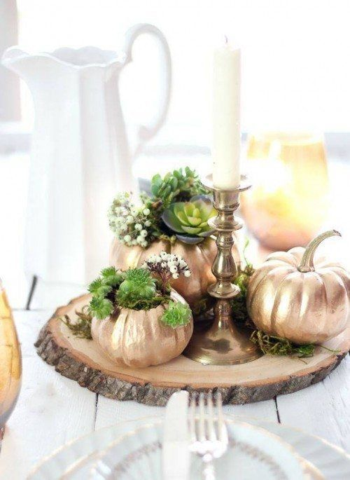 fake pumpkins spray painted copper and used as planters for succulents are a great rustic decor idea