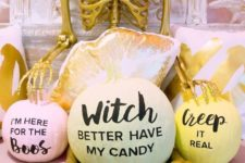 14 funny pastel pumpkins with phrases that rock are ideal for modern Halloween parties