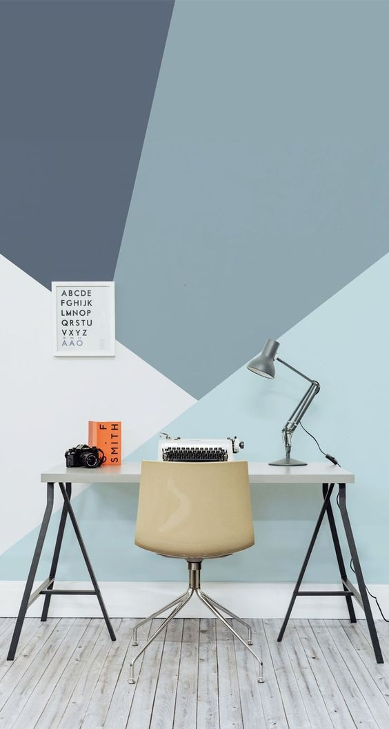 go for bold geometric color block decals in the colors your like to make your home office cooler