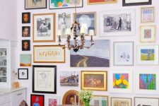 14 making your dining space bold with a bright and variative gallery wall like this one