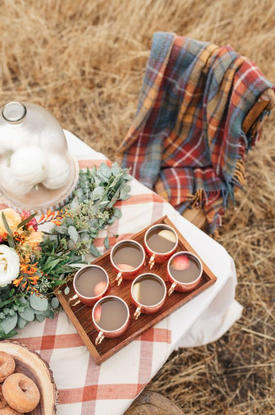 offer some plaid blankets and throws that match the table decor for a cozy fall-like look