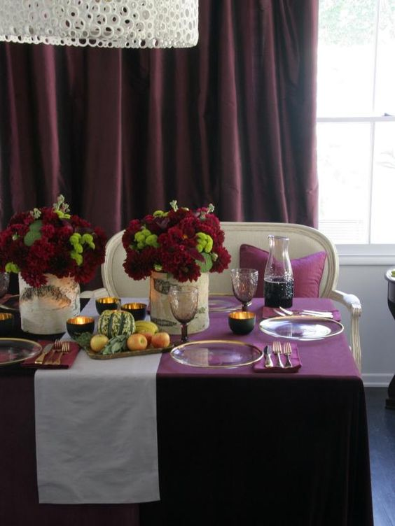 purple and burgundy were used to make this tablescape extra bold and fun