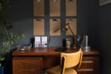 17 a wooden desk, a leather chair and metal touches are great for decorating a mid-century modern space