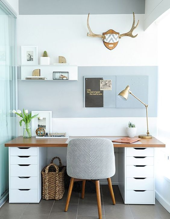 add a light color block effect with grey paint on the wall and take a matching chair