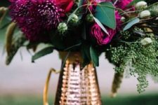 18 a copper pitcher with purple dahlias and fresh greenery for a bright Thanksgiving centerpiece